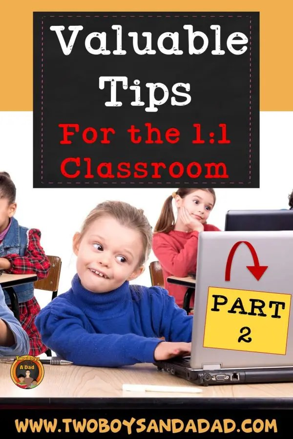 If you're in a 1:1 classroom, you'll want to read this technology tips. I have tips on storage, Google Classroom, classroom management and more. Click to read more! #twoboysandadad #technology #1:1 #classroom #elementary #teacher