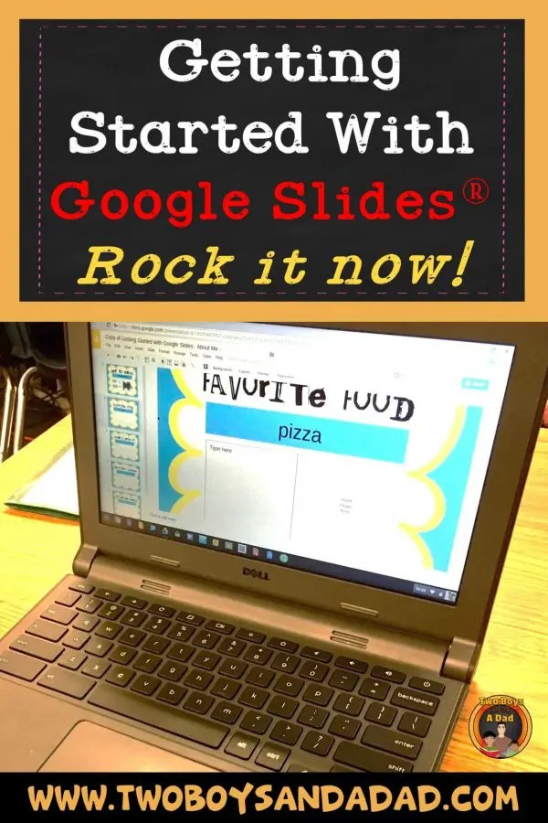 Do you want your students to use Google Slides in the classroom? Then start with this FREE downloadable Google Slides Template for an easy technology project that teaches basic skills. #twoboysandadad #googleslides #technology #classroom #elementary #project #google