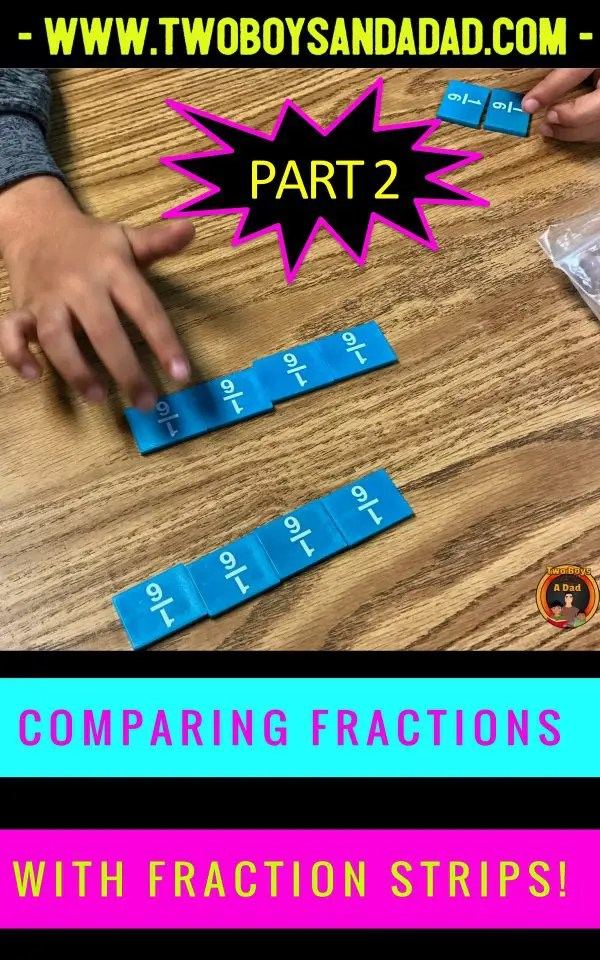 Third grade students were comparing fractions with fraction strips. Then they used Math Talk to justify their explanations of which fraction was larger or smaller. #twoboysandadad #fractions #thirdgrade #math #commoncore #mathtalk #mathematicalpractices