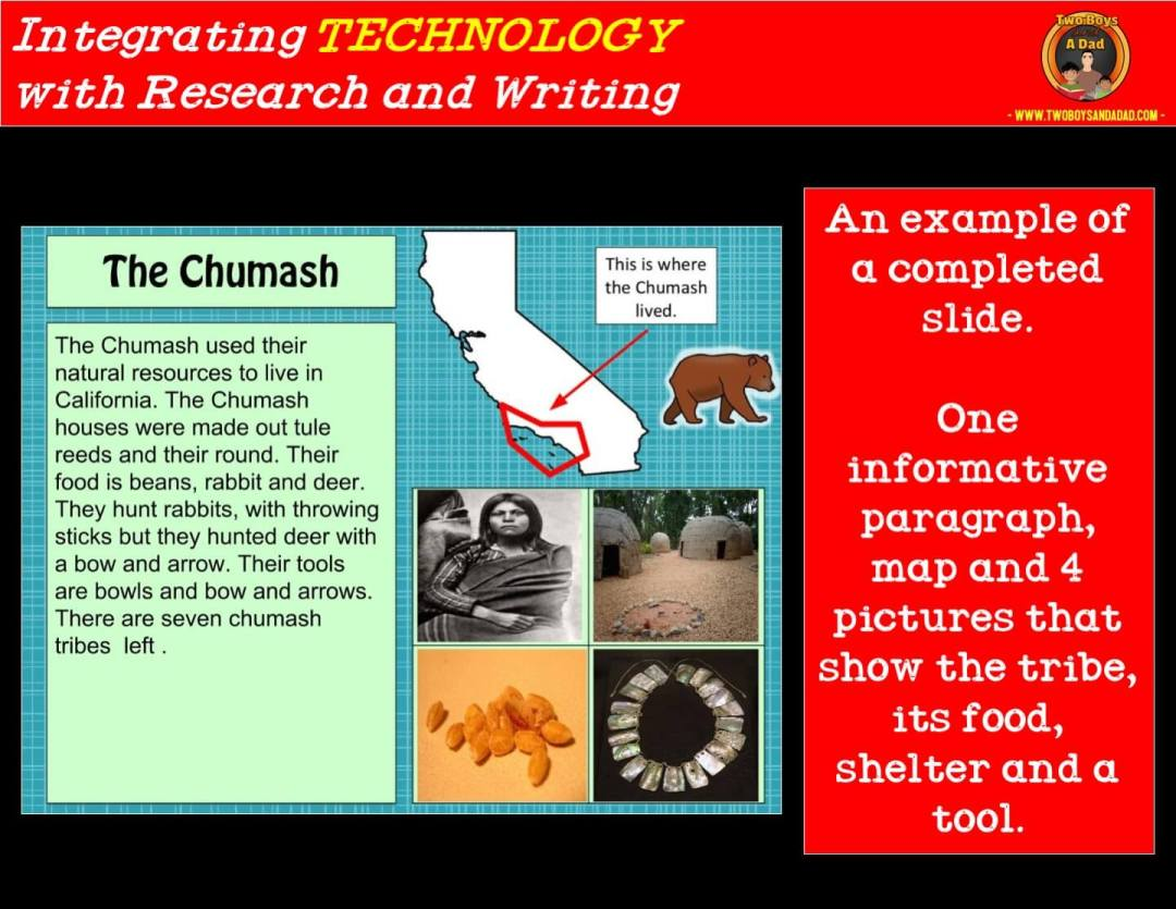 student sample of a slide for a research project integrating technology