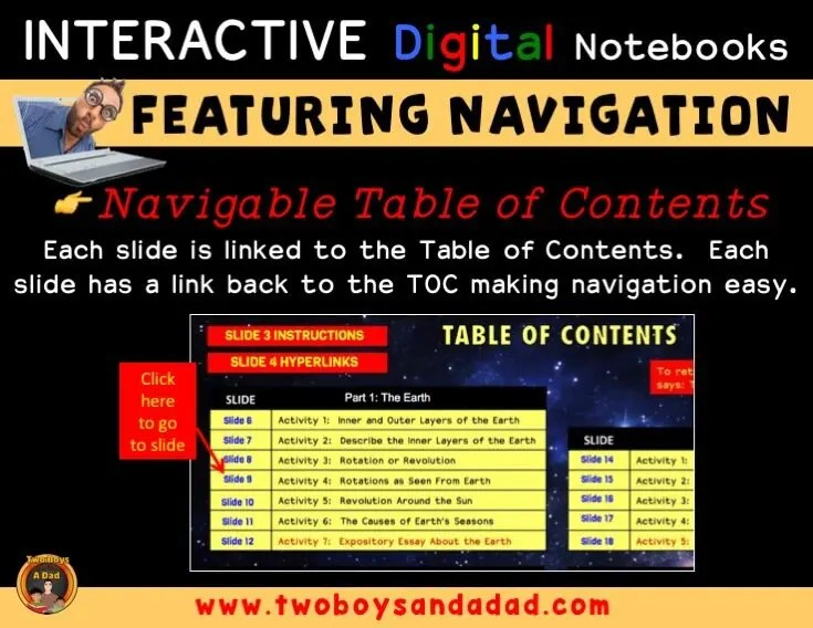 Digital Notebook navigation