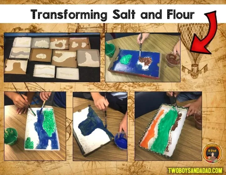 Making salt and flour maps for landforms and bodies of water