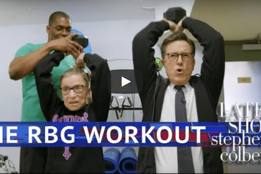 Stephen Colbert Works Out with Justice Ruth Bader Ginsburg