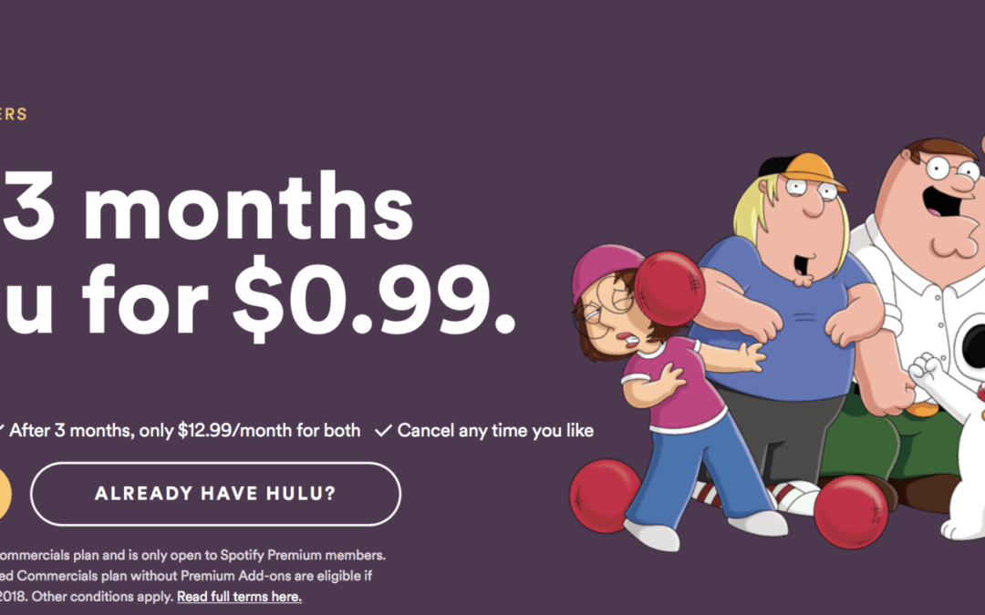 Spotify Premium Members Get Deal of the Century With Option to Add Hulu for $0.99/Month