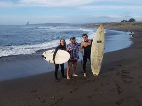 Heading out to surf La Rinconada with Fernando the town's surfing psychologist, who very generously had us to stay.