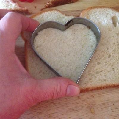 cutting bread hearts