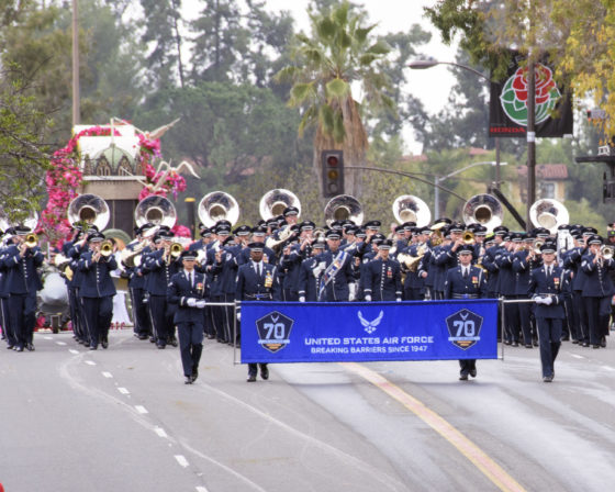 The United States Air Force Total Force Band performs in the 128th Rose Parade in Pasadena, Calif., Jan. 2, 2017. The USAF Total Force Band kicked off the Air Force 70th Birthday celebration playing several venues in Southern California culminating with their appearance in the 128th Rose Parade. The band is comprised of active duty and Air National Guard musicians from around the Air Force. (U.S. Air Force photo/Louis Briscese)