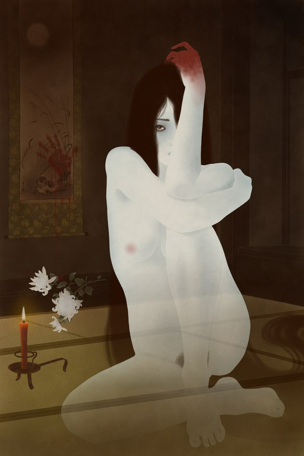 a sensual and erotic painting of a female japanese ghost