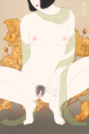 Sensual erotic painting by Senju depicting a nude beauty smoking a cigarette.