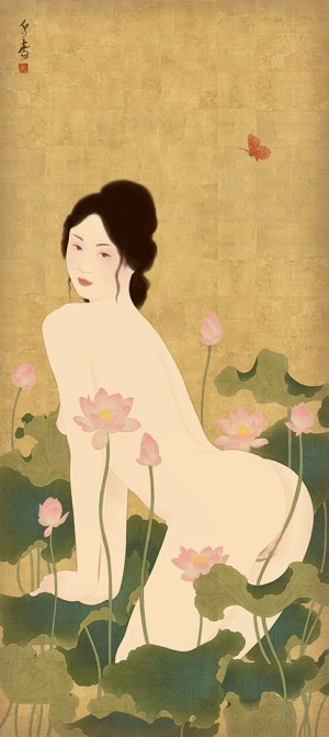 To show a print of a sensual and erotic shunga painitng by Senju.