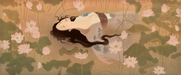 image shows a sensual vision of the classic art theme of Shakespeare's Ophelia from Hamlet.