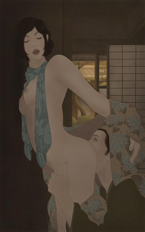 to illustrate a sensual and erotic Shunga painting by Senju, depicting a man in kimono eating the ass of a beautiful woman