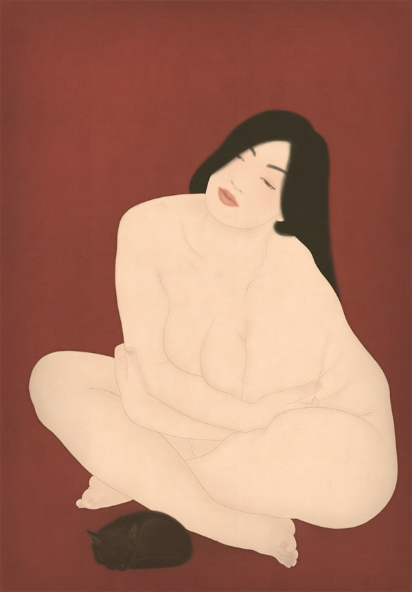 To show a sensual and erotic shunga painting depicting a nude woman with a black cat.