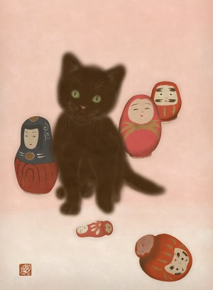 To show a kawaii painting by Anna Maia, depicting a cute black kitten with Japanese traditional daruma dolls
