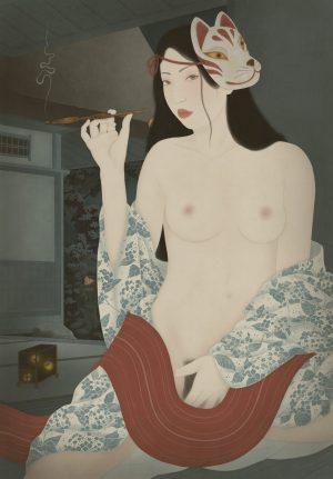 To show an erotic shin hanga influenced painting in the shunga genre by Senju
