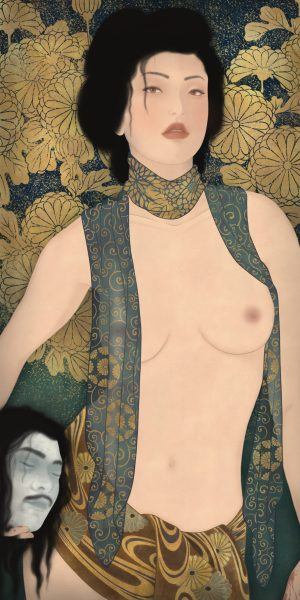 to show a sensual painting of a strong woman. An homage to Gustav Klimt