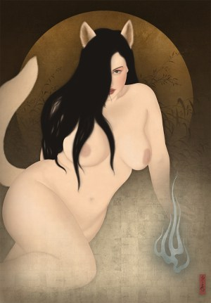 to show a sensual painting of body positive nude model Lillias Right in the shape of a Kitsune, a mythical Japanese fox.