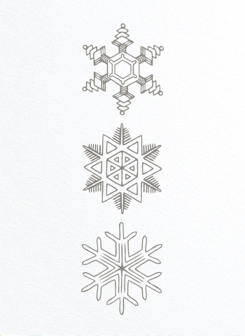 snowflake trio on french paper
