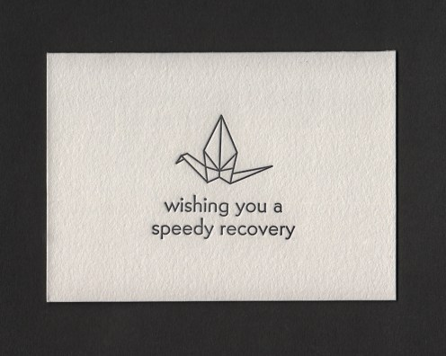 Speedy Recovery crane card (front)