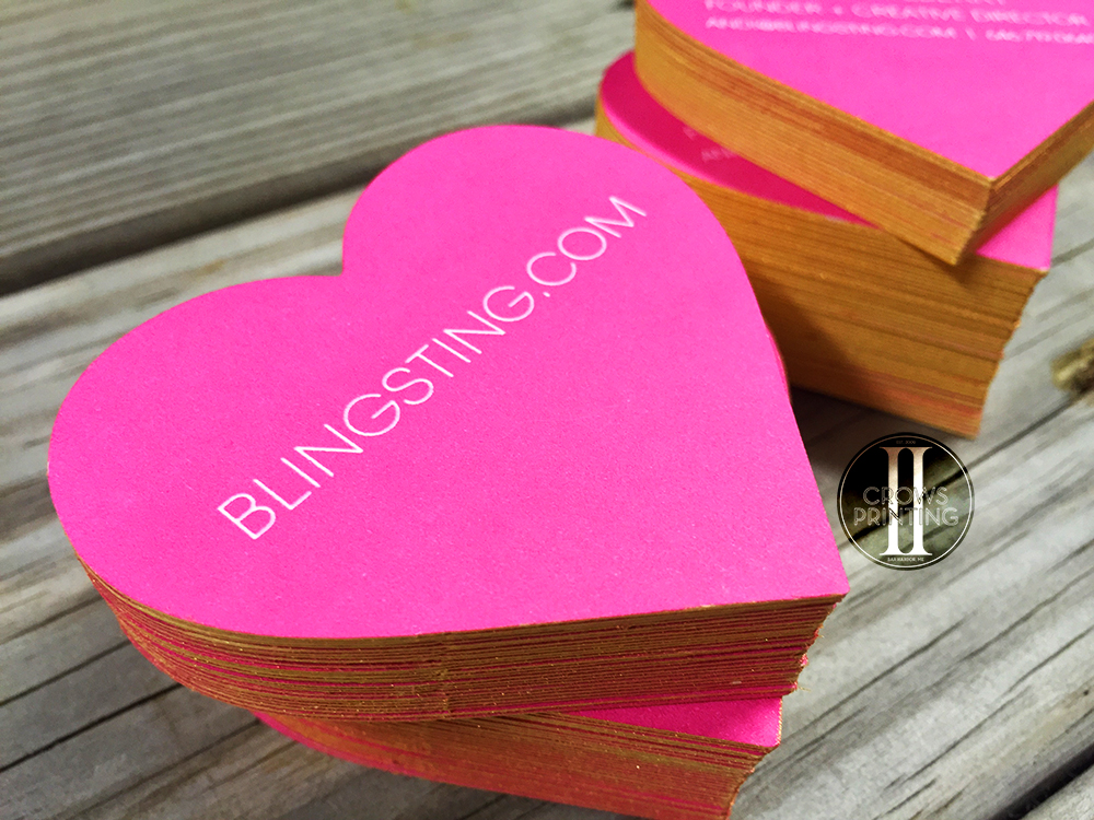 Heart Shaped Business Cards for Blingsting. - Two Crows Printing