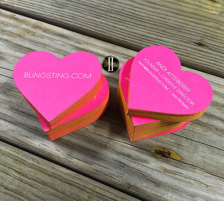 Heart Shaped Business Cards for Blingsting.