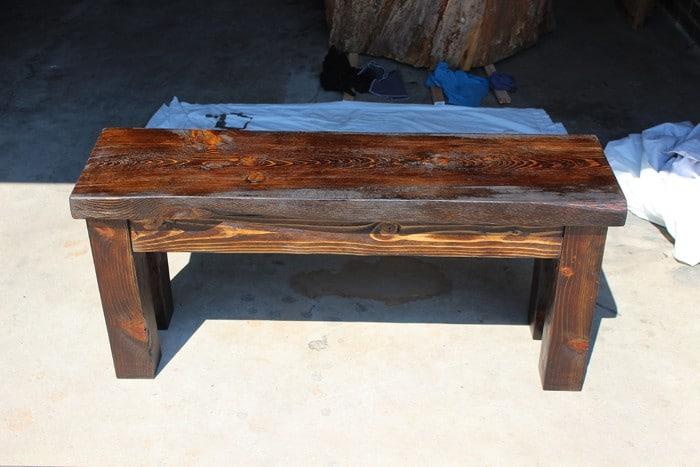 DIY wood benchDIY Wood Bench   TwoFeetFirst. Make Simple Wood Bench. Home Design Ideas