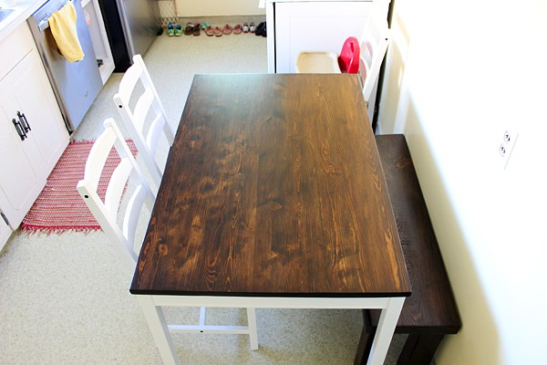 Ikea hack farmhouse table twofeetfirst ikea kitchen table hack workwithnaturefo