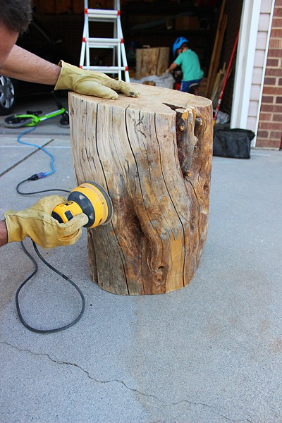 DIY Tree Trunk Table