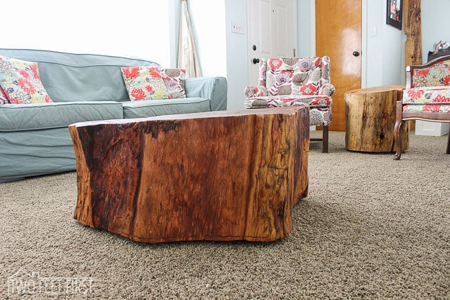 tree stump with tung oil