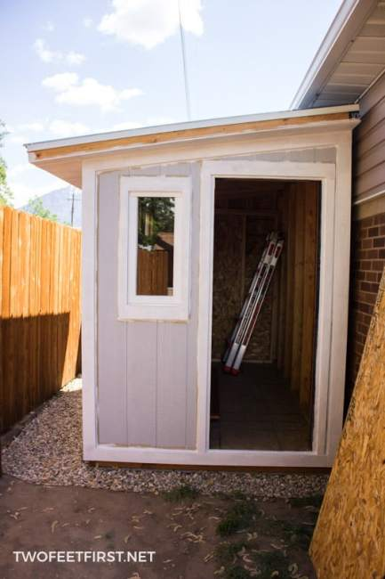 How to build a shed. Here is the process of adding siding and trim to a shed.