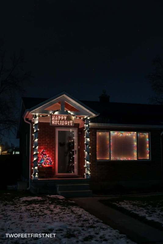 Front of house decorated for Christmas