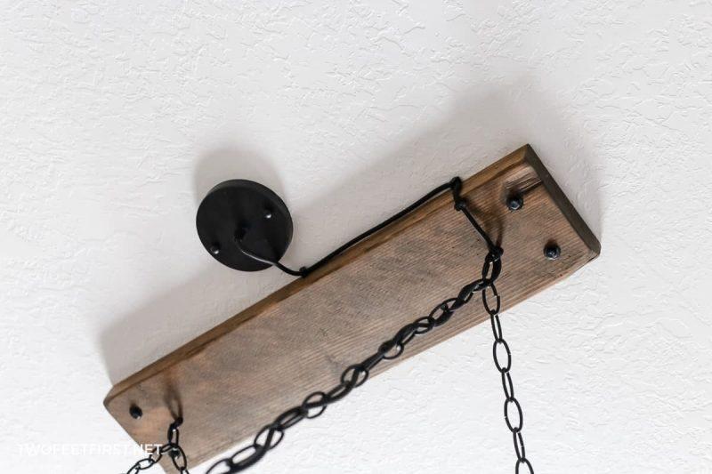 diy farmhouse wood beam chandelier