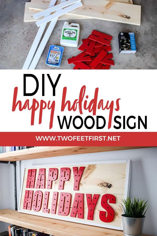 DIY happy holidays wood sign