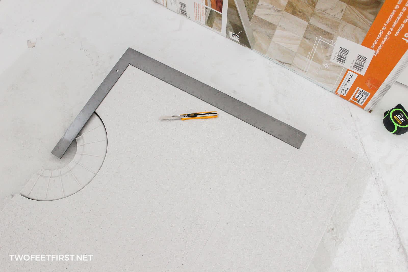cutting Schluter Kerdi shower tray