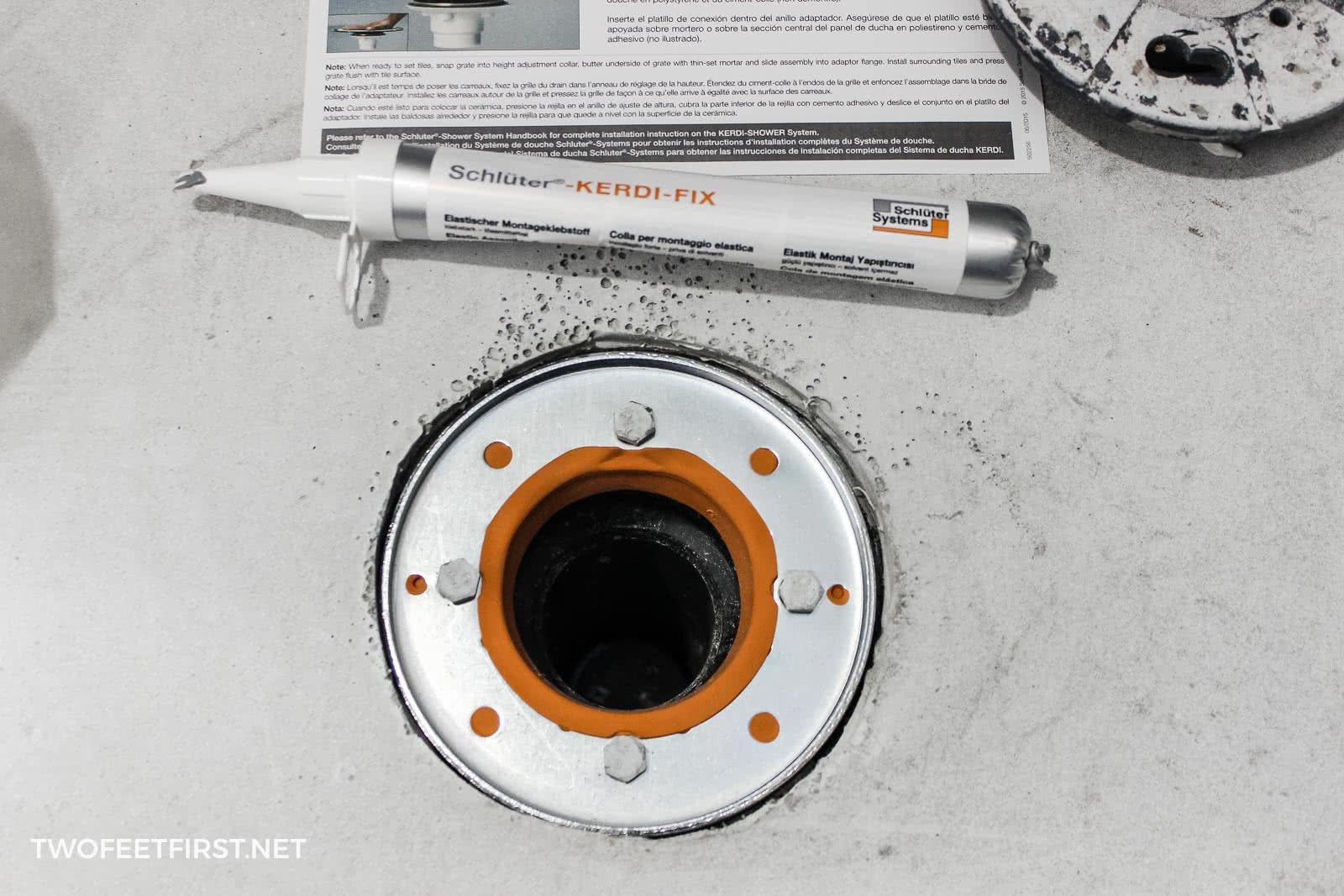 Schluter Kerdi adapter drain for shower