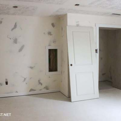 drywall installed in basement