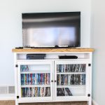 white and wood tv console