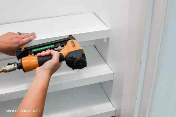 nailing trim to closet shelf