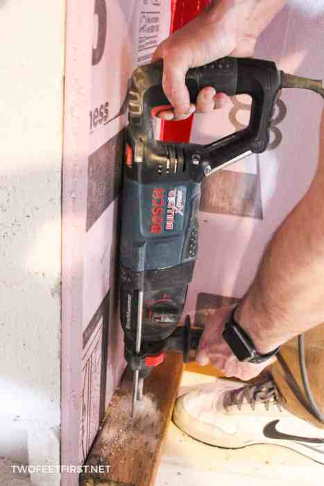using Bosch rotary hammer to drill through concrete