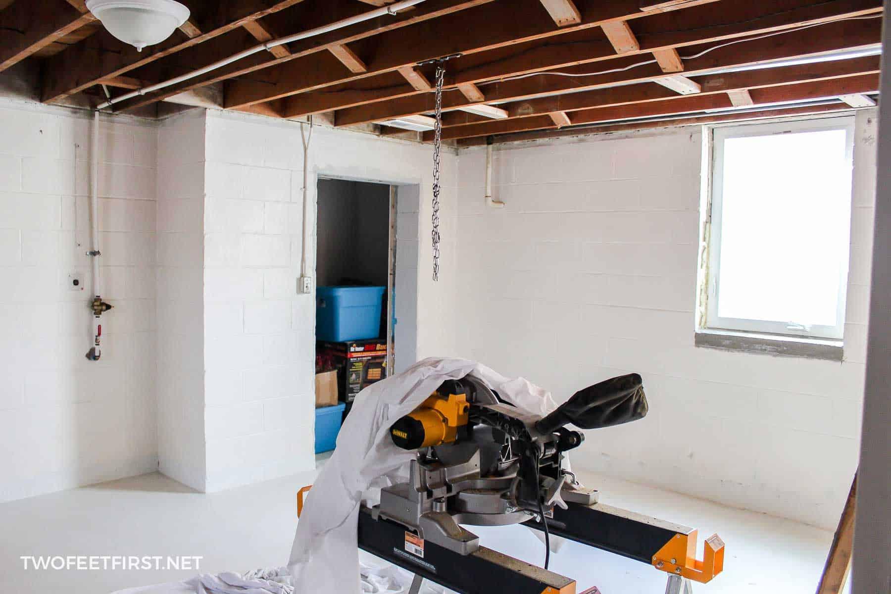 cinderblock basement room