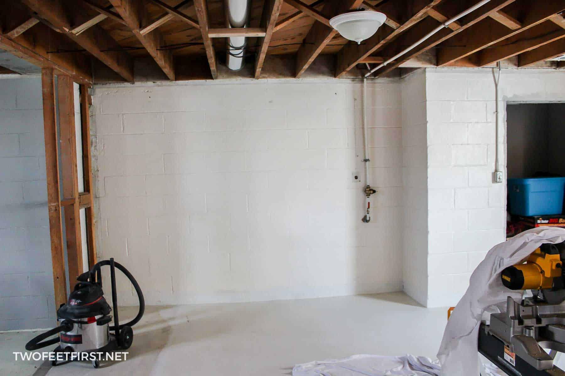unfinished cinderblock basement