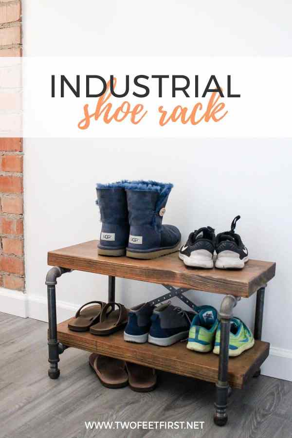 industrial shoe storage with wood and pipe