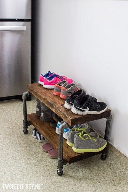 DIY Industrial Shoe Storage