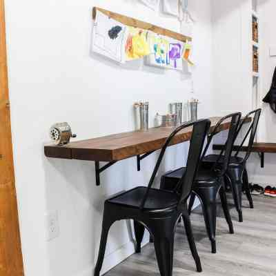 table in mudroom