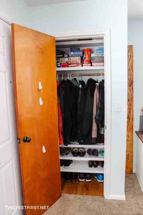 entry closet makeover on budget