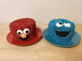 Elmo and Cookie Monster smash cakes