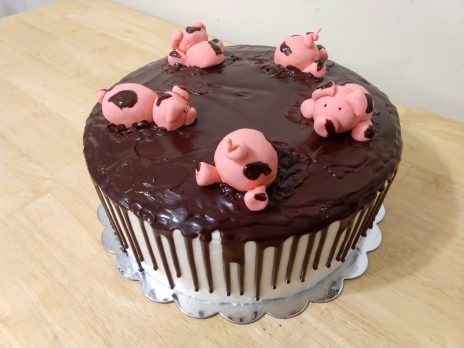 Pigs playing in the mud cake
