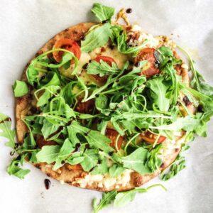 naan pizza - arugula salad