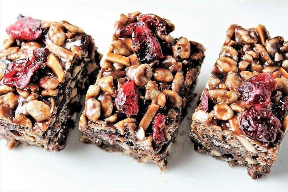 Chocolate Cranberry Rice Crispy Squares