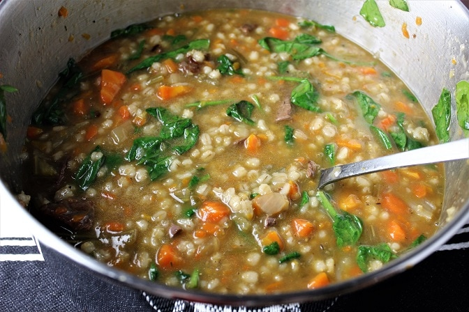 Hearty beef barley vegetable soup